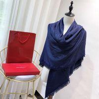 bufanda azul de invierno al por mayor-Bufanda de lujo fera mujeres gasa seda cráneo mantón 140 * 140 cm azul diseñador de la marca capa moda invierno bufanda a cuadros