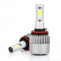 karşı savunma toptan satış-2 Adet Araba Oto LED Far Işıkları Ampuller Lambaları Kiti S2-H4 H13 H11 9005 9006 9007 Sis Işık 6500 K Anti-toz Tek Parlak
