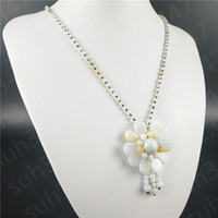 Wholesale money bag pendants - Natural Jade Jadeite A+ Emerald Gemstone Flower Pendant Necklace