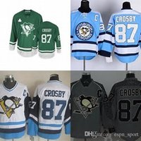 Wholesale Pittsburgh Embroidery - Hot Sale Mens Pittsburgh Penguins 87 Sidney Crosby Black Green Blue White Gray Best Quality Full Embroidery Logos Cheap Ice Hockey Jerseys