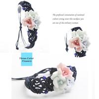 handgemachte keramische blumen großhandel-1Pcs heißes neues kreatives umsponnenes Armband-Blumen-Armband Retro- handgemachte Keramik
