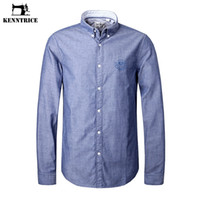 Wholesale Clothing Design Business - KENNTRICE Dress Shirt Men Brand-Clothing Embroidery Cotton Fabric Oxford Male Shirt Slim Business Design Long Sleeve