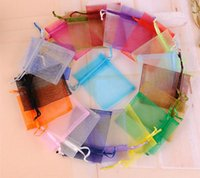 Wholesale 500pcs Organza Jewelry Pouches Bags Mixed colors Wedding Christmas Gift Bags Pouches x7cm