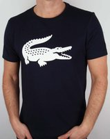 camisa gráfica branca dos homens s venda por atacado-Marca Croc Imprimir Camiseta Na Marinha Branca-de Manga Curta Tripulação Pescoço Gráfico Tee Men Mangas Curtas T Shirt Unisex Mais Tamanho E Cores