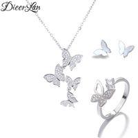 1f30b19c9827 925 Plata de ley Collares largos de mariposa Colgante Pendientes de  mariposa Anillos Conjuntos de joyería para mujeres Joyería de plata  esterlina