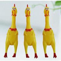 gummi-huhn stress spielzeug großhandel-Shrilling Hühner 17cm 31cm 39cm Screaming Rubber Chicken Squeeze Stress Spielzeug Lustige Squeeze Sound Spielzeug Kinder Geschenk Einzelhandel 6pcs