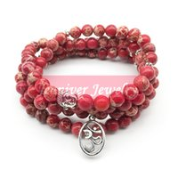 jóias espiritual venda por atacado-Bracelete Jeaniver Fashion Yoga Ohm New Design Women's Healing Spiritual Jewelry Natural Red Regalite 108 Mala Bracelete