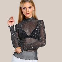 seksi kadın şeffaf bluz toptan satış-BEFORW Seksi Kadınlar Bluzlar Mesh See Through Şeffaf Standı Boyun Uzun Kollu Sheer Bluz Gömlek Yıldız desen Bayanlar Ince Üstleri