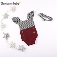 Wholesale Newborn Babies Belts - Baby Cross Belt Rompers Flying Sleeve Striped Button Crimson Elastic Flod Hair Banding Newborn Infant Jumpsuits Summer Girls Clothing 3-24M