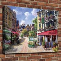 panel pared lienzo paris al por mayor-Pintura al óleo antigua París The Street Canvas HD Print Poster Home Decor Canvas Art Cartel de la pared de pintura enmarcada