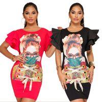 vestidos de pétala preto venda por atacado-Casual Tamanho Grande Mulheres Impressão 3D T Shirt Vestido Hip Vestido Cuff Straps Flounces Pétala Manga K9132 Cor Tamanho Preto S-XXL