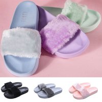 Wholesale women massage slippers - 2018 Leadcat Fenty Rihanna Faux Fur Slippers Women Girls Sandals Fashion Scuffs Black Pink Grey Blue Slides best Quality With Box