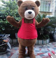 mascotes de urso adulto venda por atacado-Urso de pelúcia da pele do traje da mascote de pelúcia traje adulto fancy dress traje festa do dia das bruxas terno animal engraçado urso traje