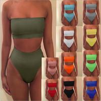 xl tanga mayoları toptan satış-Kadınlar Mayo Bodysuit Yüzme Suit Bikini Set Mayo Yüzmek Yüksek Bel Tanga Plaj Mayo Siyah