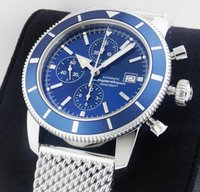 Wholesale Luxury Watches Superocean - Luxury AAA Top Quality Superocean Heritage Chronographe Sport Styles Men's Watch Chronograph Quartz Watch Steel Blue 46mm Mens WristWatches