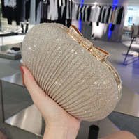 Wholesale gold bridal clutch - 2018 Sparky Pleated Women Bridal Hand Bags For wedding Gold Evening Clutches Chain Bag Applique In Stock Bridal Bags Party Blingbling
