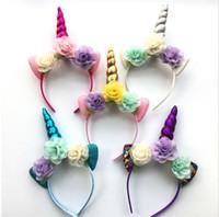 chifres de animais venda por atacado-2018 Glitter Metálico Unicórnio Headband Meninas Chiffon Flores Hairband Para Crianças folha flor Unicorn Horn Party Acessórios Para o Cabelo GA215