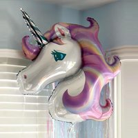globos de aluminio en forma al por mayor-Unicornio forma 115x85 cm globos de aire de aluminio globo de seguridad para el hogar fiesta de cumpleaños decoraciones de la boda airballoon precioso 4sl b