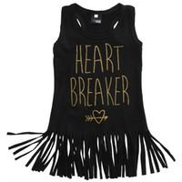 Wholesale Girls Heart Skirt - New Girls Tassels Dress Gold Letters HEART BREAKERS Summer Skirt Sleeveless Vest Dress Round Neck 1-5T