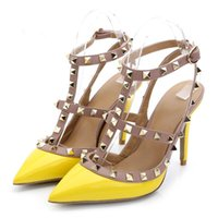 Wholesale patent slingbacks - 2017 luxury brand design Patent Leather Women Stud Sandals Slingback Pumps Two Ankle Buckles Ladies Sexy High Heels Neon Color Wedding Shoes