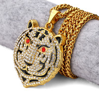 kırmızı göz sarkıt toptan satış-Vintage Bling Altın Kırmızı Taş Gözler Bear Başkanı Rhinestone Kolye Kolye Erkekler Kadınlar Hip Hop Kristal Takı Hediyeler Zincirler
