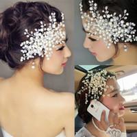 correntes de cabelo rhinestones venda por atacado-Luxo Rhinestone Faux Pearl Headband Tiara Cabelo Cadeia Headpiece Casamento Nupcial Hairwear nupcial acessórios para o cabelo
