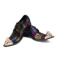 el yapımı i̇talyan erkek elbiseleri ayakkabı toptan satış-El yapımı Kaya erkek Ayakkabıları İtalyan Modeli Renkli Deri erkek Elbise Ayakkabı Sivri Metal Ayak Parti / Iş