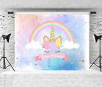 ingrosso colpo da doccia-Sogno 7x5ft Sfondo Unicorno per bambini Festa di compleanno Arcobaleno Corno d'oro Foto di sfondo Baby Shower Fotografia Sfondo Spara Booth