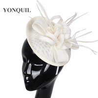 Wholesale feather wedding comb clips for sale - Group buy Party headwear ostrich quill adorned fascinator with feather base hat DIY combs hair clips wedding Imitation Sinamay attractive millinery