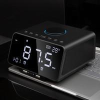 büyük saat göstergesi toptan satış-Yeni K9 Akıllı Bluetooth Hoparlörler 10 W Soundbox Süper Bas Hifi Hoparlör Elektronik Çalar Saat USB Şarj Şarkı Büyük LED Ekran FM Radyo