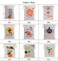 ingrosso zucca di halloween-2018 Regalo di Halloween Santa Sacchi Borse di zucca Grandi borse di tela di cotone Zucca, diavolo, ragno Stampato Candy Bags per i bambini