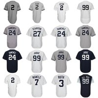 Compra 27 Maglie-New York 99 Aaron Judge Jersey 27 Giancarlo Stanton 2 Derek Jeter 24 Gary Sanchez 7 Mickey Mantle 3 Babe Ruth All Rise Baseball Jerseys