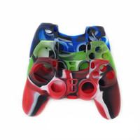 controlador de ps4 cubierta de silicona al por mayor-Caso de la cubierta del apretón de la piel de la caja de la goma del silicón del camuflaje de los Multicolores para el caso externo de la caja de la palanca de mando del joystick de PS4