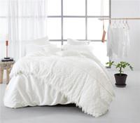 Wholesale royal duvet - Egypt cotton white lace luxury royal princess Bedding set double king queen size korean bedsheet set duvet cover Pillowcase