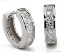 швейцарские алмазные шпильки оптовых-3ct швейцарский Алмаз серьги новые ювелирные изделия стерлингового серебра 925 серьги обруча уха манжеты клипы мужские серьги Стад для свадьбы