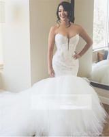 red de ilusiones al por mayor-Vestidos de novia de encaje sirena de lujo apliques de amor vestido de bola de tul hinchado vestidos de novia tallas grandes vestidos de novia diseño personalizado