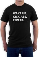 Wholesale Wake Up Kick Ass Repeat T shirt Workout Gym Mma Lifting Body Builder Crewneck Te Wake Up T Shirt