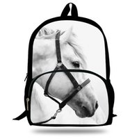 Wholesale zebra printed animals online - 16 Inch Popular Animal Bags Children School Bags Zebra Backpack For Kids Girls Horse Print Backpacks For Boys Animal Backpack