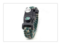 klettern armband großhandel-Mix Colour Survival Armband Kompass SOS LED Signal Licht Paracord Verstellbare Schnalle Handgefertigte Paracord Link Kletterseil Cord
