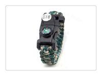 tırmanan bilezikler toptan satış-Mix Renk Survival Bilezik Pusula SOS LED Sinyal Işık Paracord Ayarlanabilir Toka El Yapımı Paracord Bağlantı Tırmanma Halat Kordon