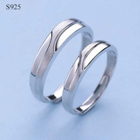 Wholesale Male Sterling Silver Wedding Ring - 100% Genuine Real Pure Solid 925 Sterling Silver Couple Rings for Women Men Jewelry Female Male Lover Ring Engagement Bague