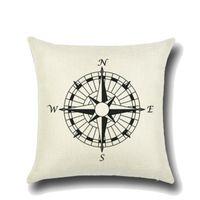 ingrosso ancoraggio a vela-Federa da barca 45cm Nautical Sailing Anchor Sailor Compass Style Lino Federa da letto Federe per camera da letto