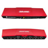 clavier kvm achat en gros de-Tesla smart USB Switch KVM HDMI 4 ports Prise en charge du commutateur KVM HDMI rouge 3840 * 2160 / 4K * 2K IR Extra USB 2.0 Plusieurs Clavier Souris