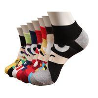 erkekler için renkli çoraplar toptan satış-Erkekler Çorap Pamuk Kaptan Amerika Avenge Erkek ve Erkek Kısa Çorap Renkli Nefes Karikatür Çorap Moda Yeni