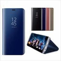 flip cover schlaf großhandel-Luxusüberzug Spiegel Fall Clear View Smart Flip Phone Cases Cover Schlaf wake mit Ständer für Samsung S8 S9 plus Hinweis 8 iphone X 8 7 DHL