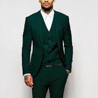 ingrosso giubbotto verde per gli uomini-Green Formal Wedding Men Abiti per Groomsmen Wear Tre pezzi Trim Fit Custom Made Smoking dello sposo Evening Party Suit Jacket Pants Vest