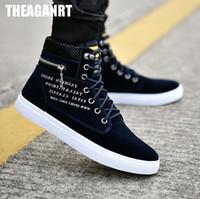calçado de lona superior venda por atacado-THEAGRANT 2018 Alta Top Homens Causal Sapatos Zip Tênis De Moda Plus Size 39-47 Lace Up Sapatos Masculinos de Lona Outono Calçado MFS3005