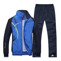 Wholesale couples fitness - Wholesale-2017 New Men Spring Autumn Sports Suits breathable Pants Jackets outdoor Sportswear Running Tracksuits Fitness Gym Couples L-5XL