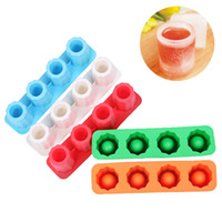 Wholesale ice cream cups glass - Silicone ice shot glass mold 4 cups siliocne tray square ice tray cube jelly tray baking mold ice cube maker