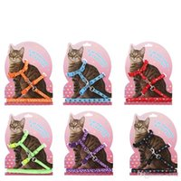 Wholesale china lighting set online - Pet Traction Rope Plaster Double Deck Heart Shaped Cartoon Cats Chain Ropes Kitten Cat Harness Lead Set sz gg